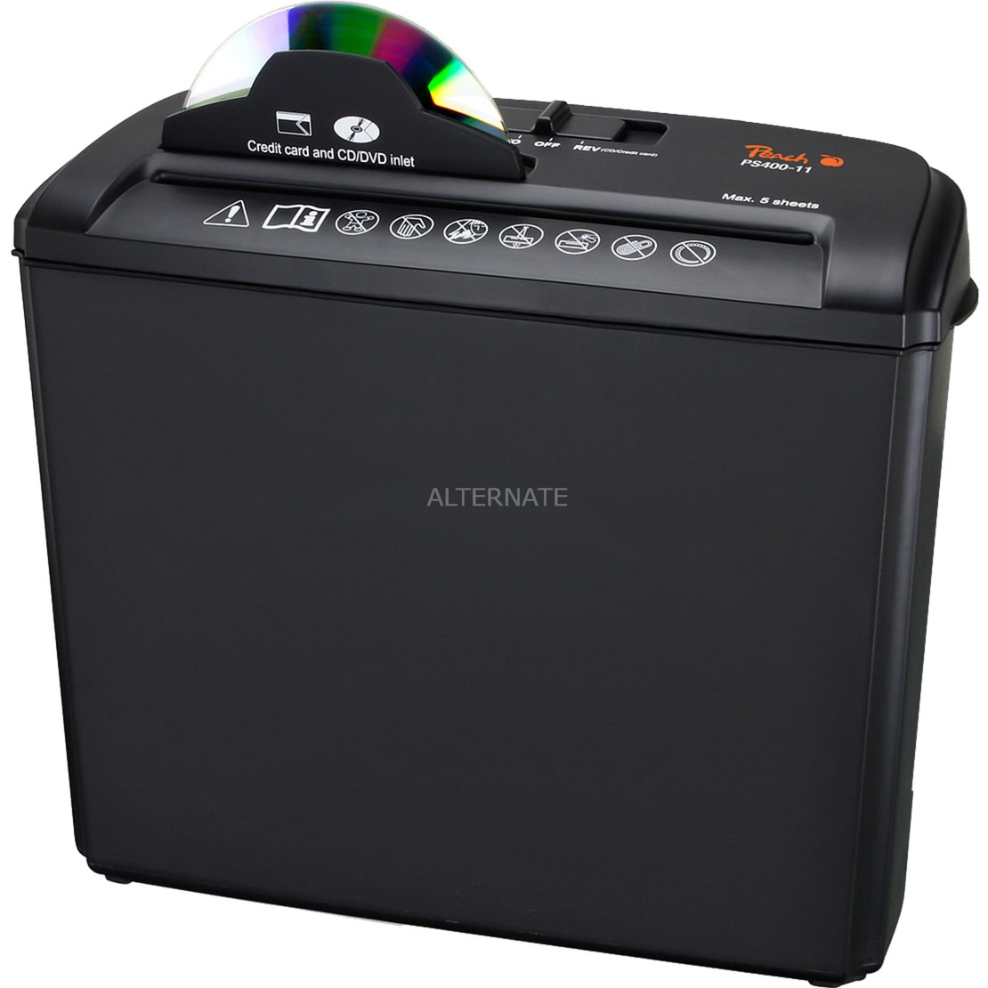 PS400-11 triturador de papel Corte en tiras 72 dB Negro, Plata, Destructora de documentos