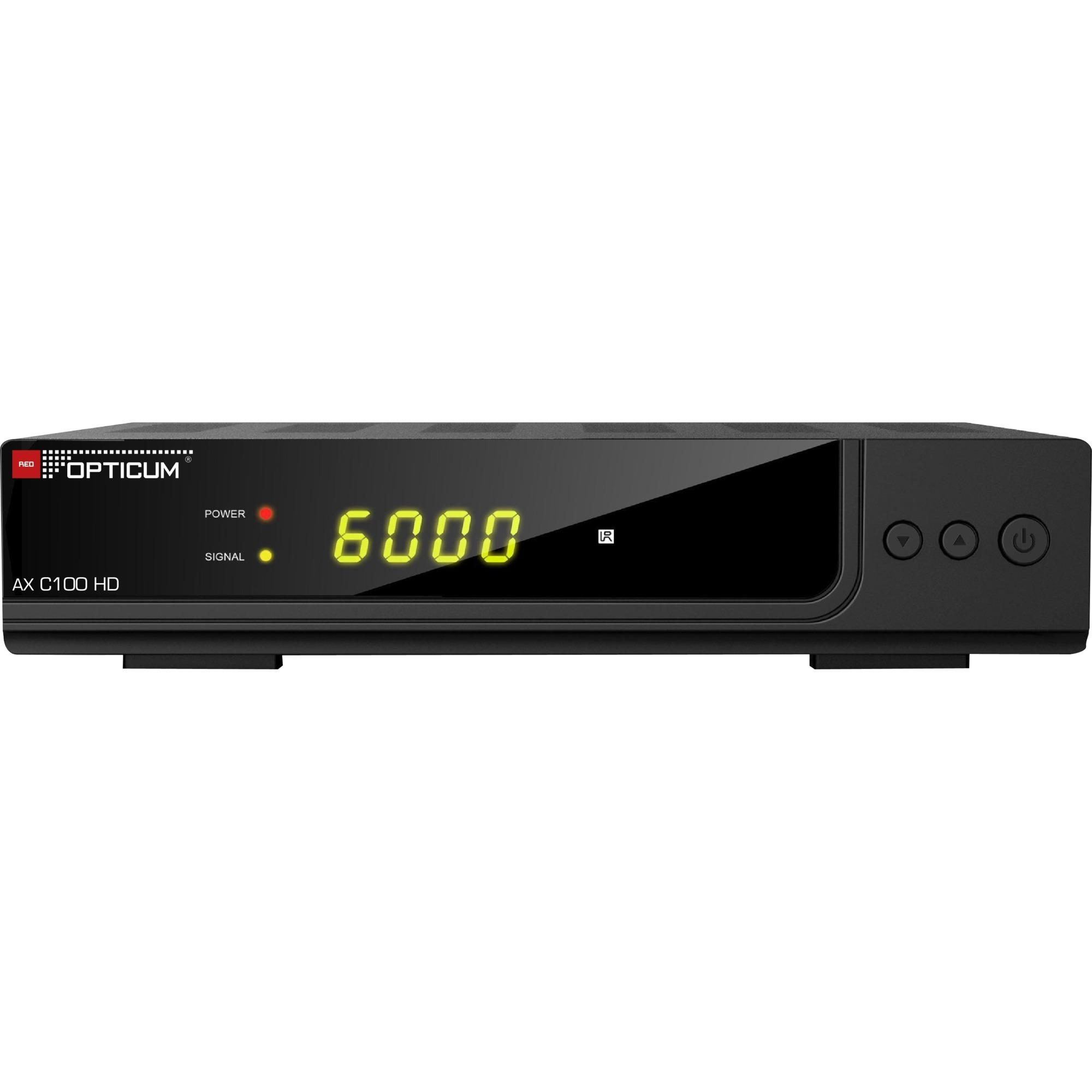 AX C100 HD tV set-top boxes Cable Alta Definición Total Negro, Receptor de cable