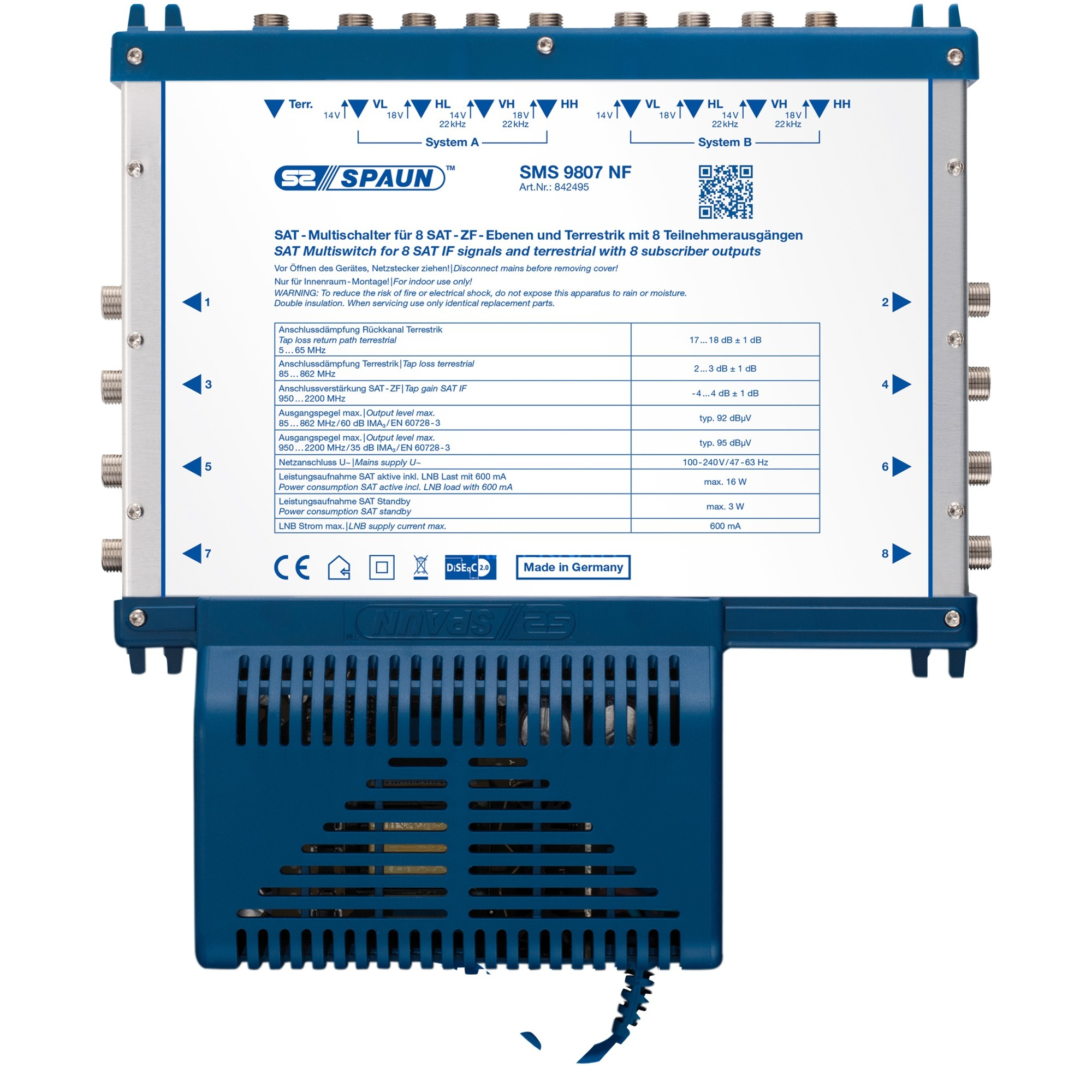 SMS 9807 NF interruptor de video, Interruptor múltiple