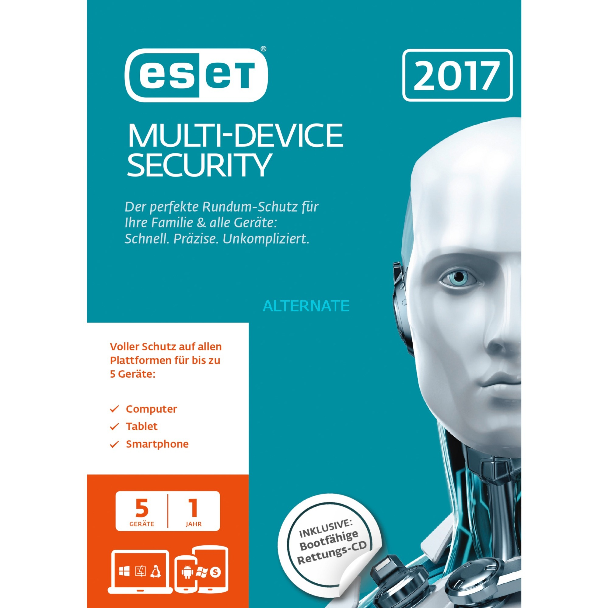 Multi Device Security 2017 5usuario(s) 1año(s) Alemán, Software