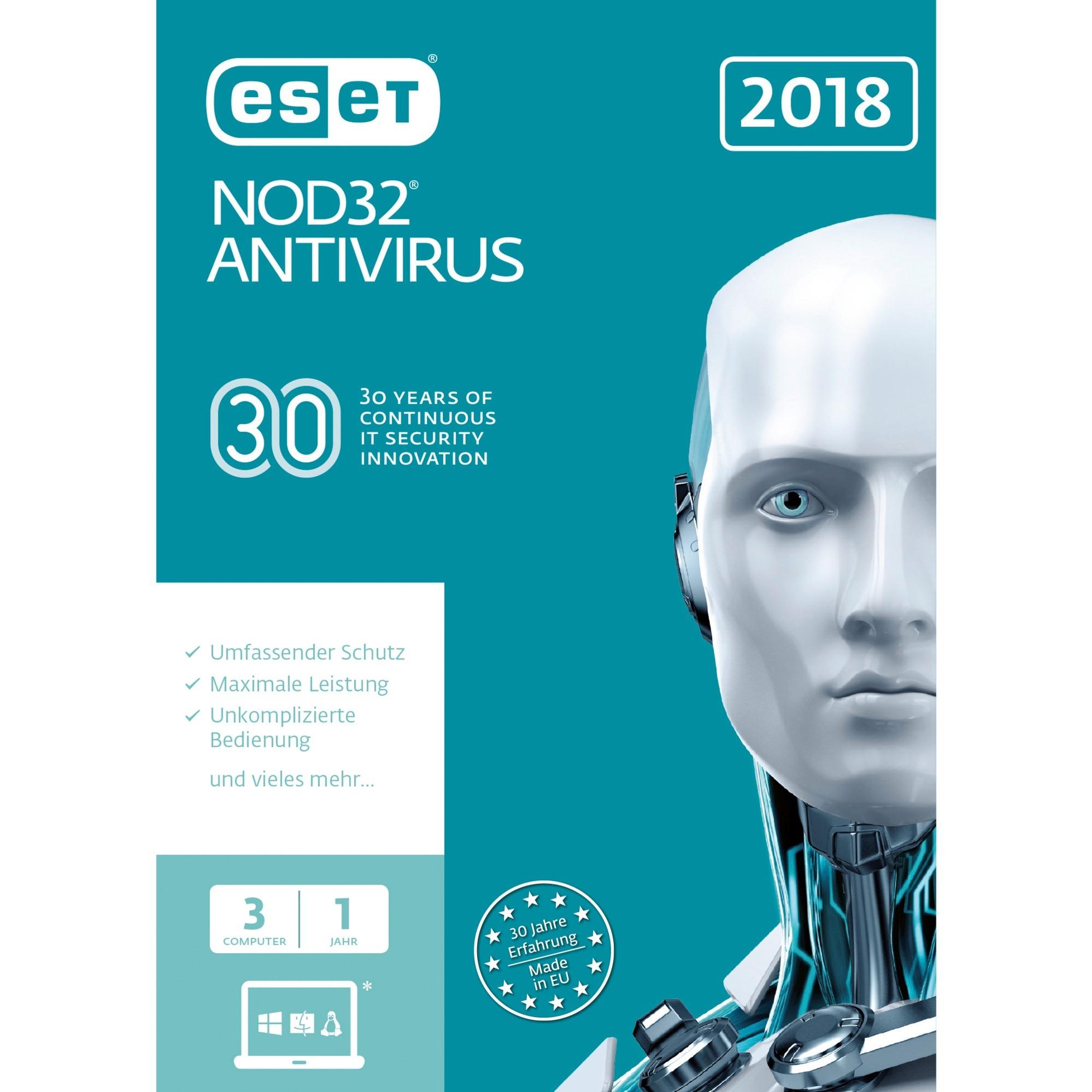 NOD32 Antivirus 2018 3usuario(s) Base license Alemán, Software