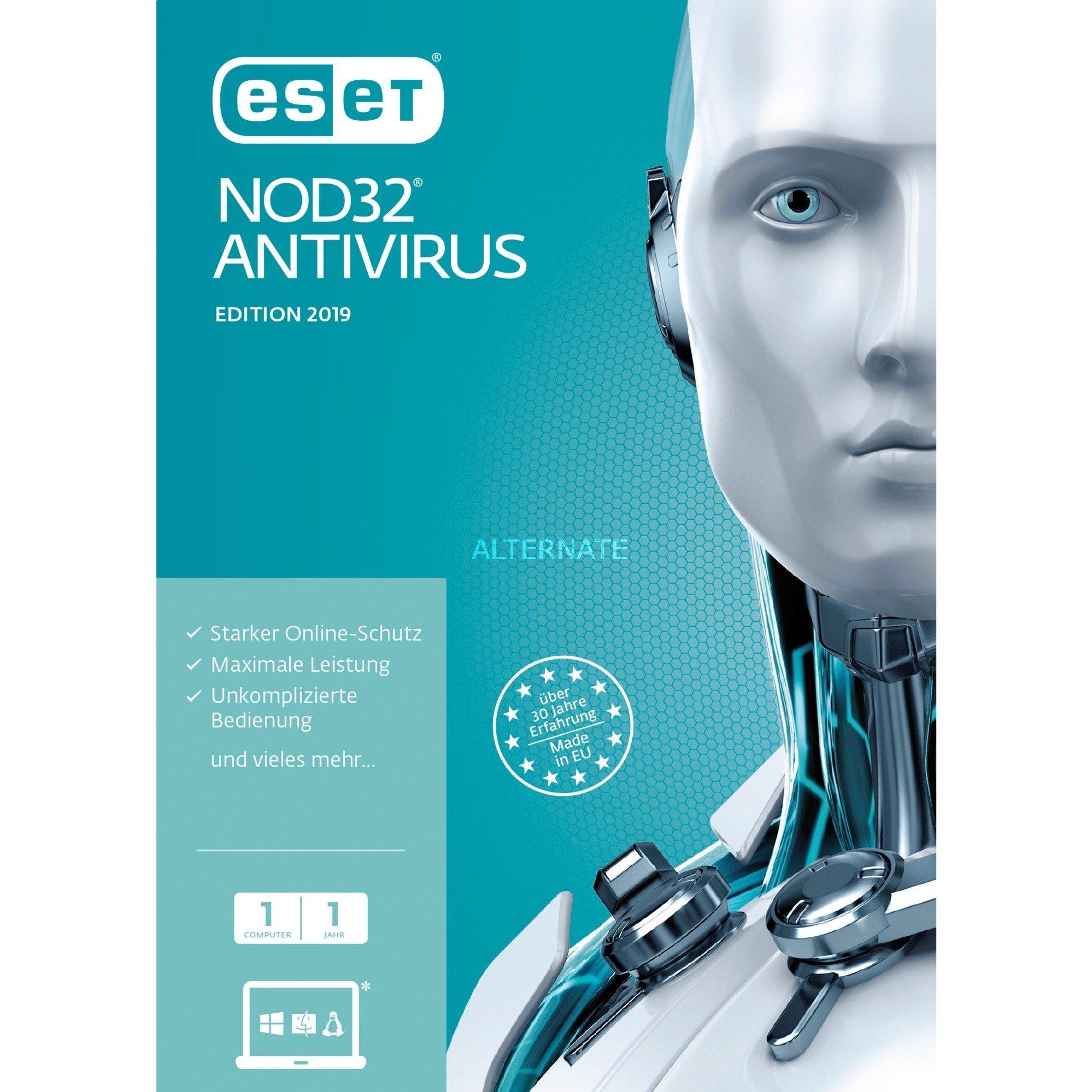 NOD32 Antivirus 2019, 1u 1 licencia(s) Caja Alemán, Software