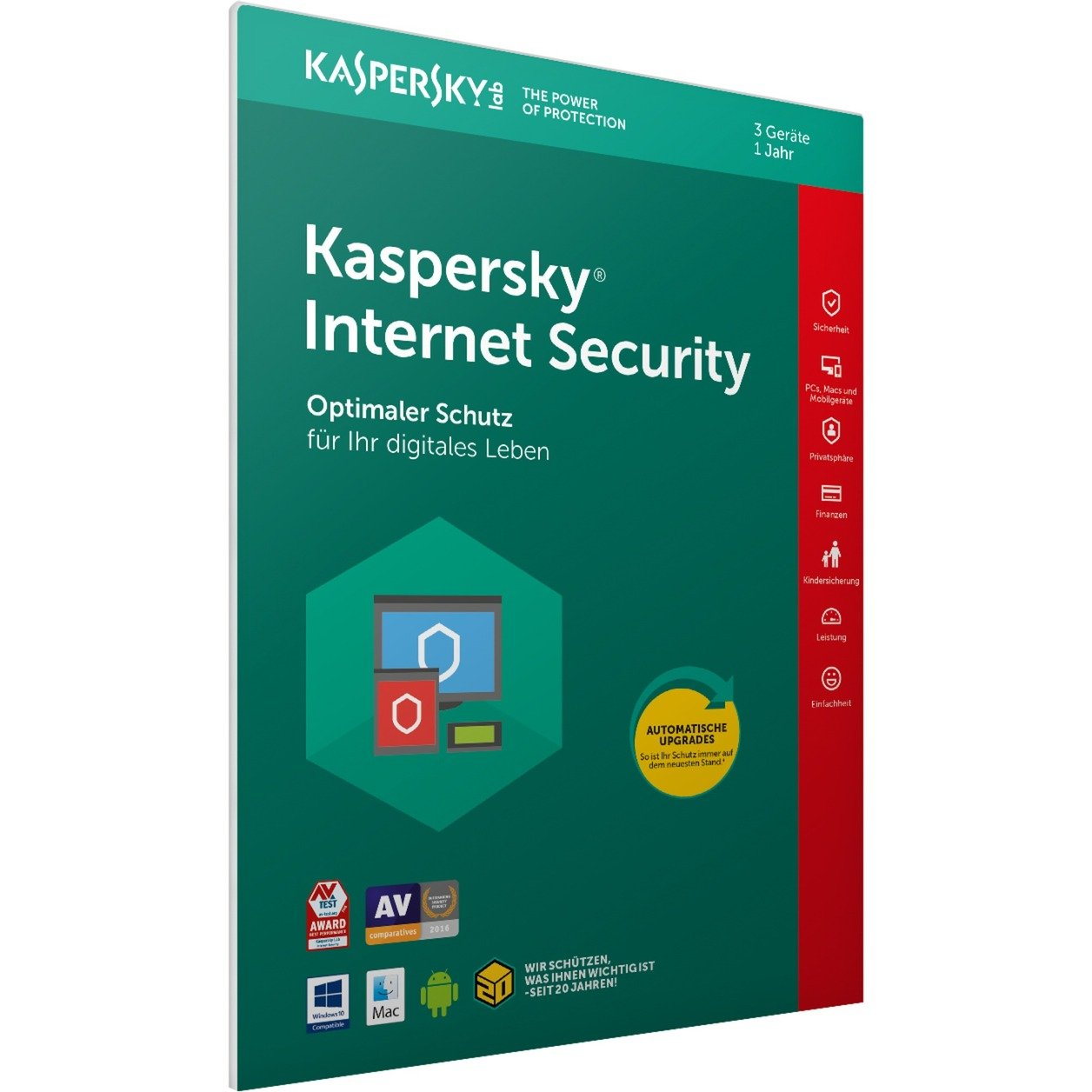 Internet Security 2018 3usuario(s) 1año(s) Full license Alemán, Software