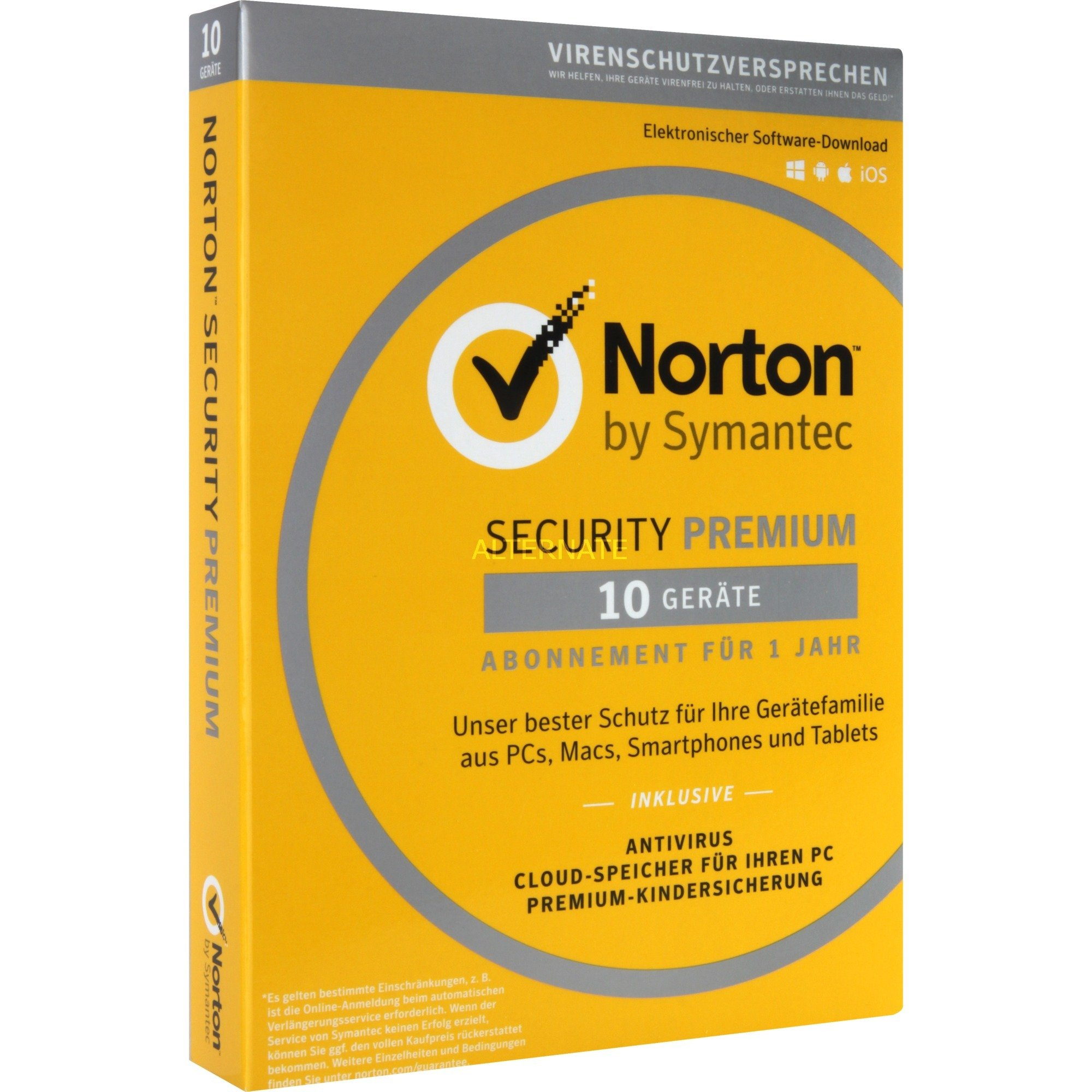 Norton Security Premium 3.0 Full license 1usuario(s) 1año(s) Alemán, Software