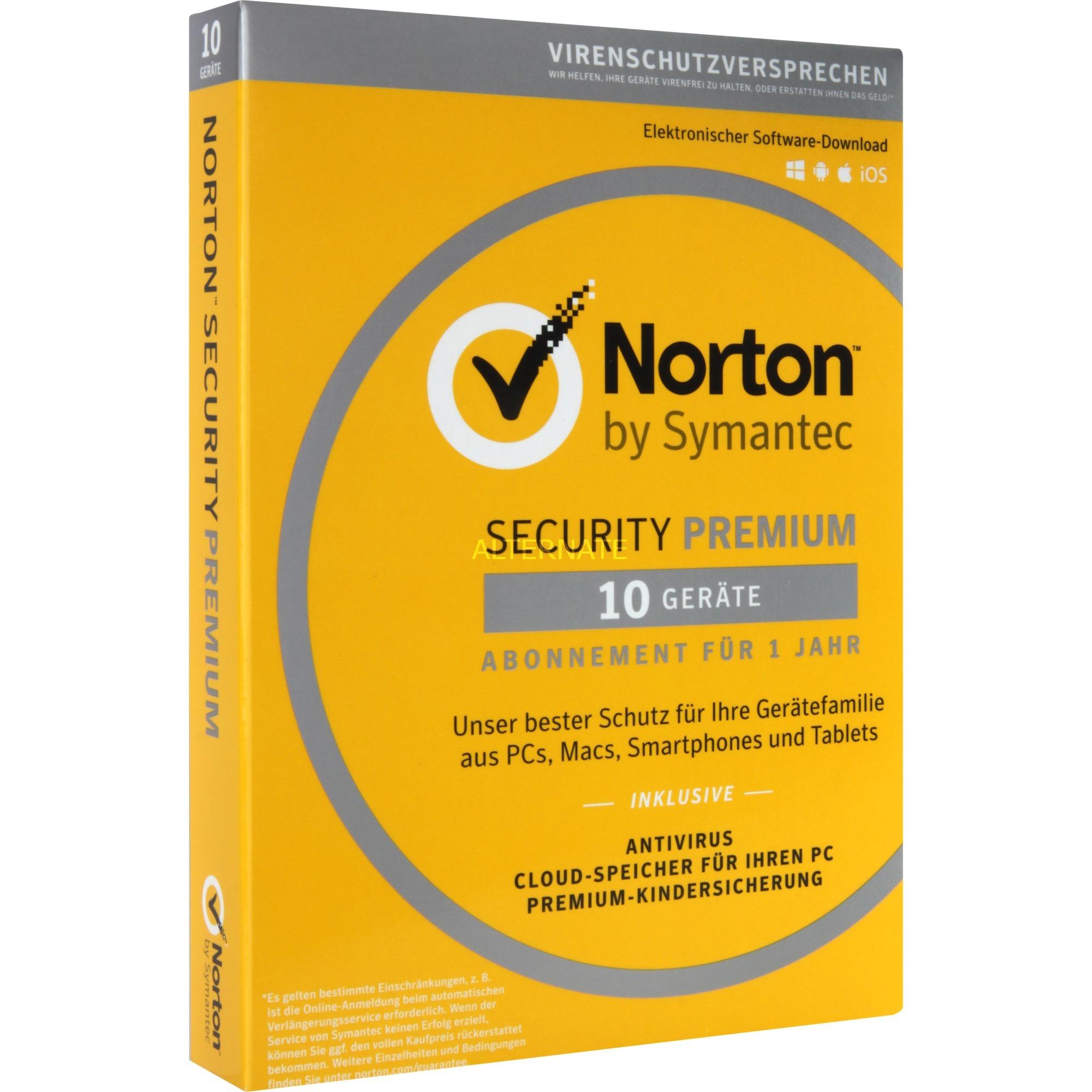 Norton Security Premium 3.0 Licencia completa 1 licencia(s) 1 año(s) Alemán, Software